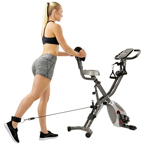 Sunny Health & Fitness Foldable Semi Recumbent Magnetic Upright Exercise Bike w/Pulse Rate Monitoring, Adjustable Arm Resistance Bands and LCD Monitor - SF-B2710 by Sunny Health & Fitness (Image #12)