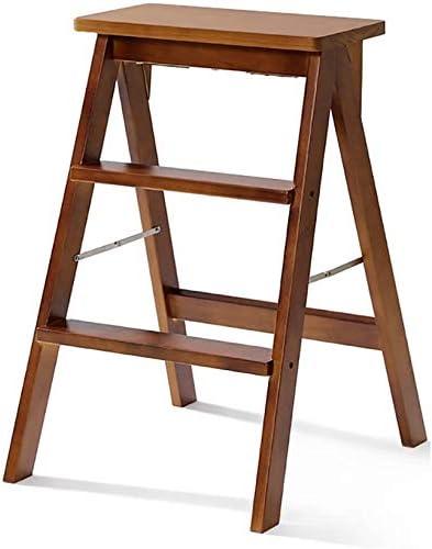 HOMRanger Escalera de Madera para Taburete de Madera para Adultos Escalera de Mano Plegable de Madera Maciza Reposapiés Plegable portátil Banco de Taburete pequeño multifunción (Color: Marrón,: Amazon.es: Hogar