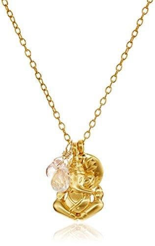 Satya Jewelry Cherry Quartz and Rose Quartz Ganesha and Satya Lotus Pendant Necklace (24-Inch)