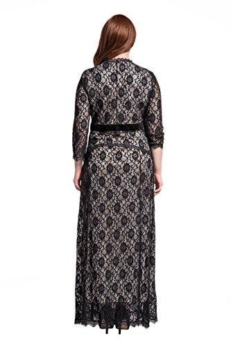 bbe76ca9a127 Damen Große Größen Rockabilly Kleid, MisShow Festliche Schwarz Spitze Kleid  Plus Size Retro V- ...