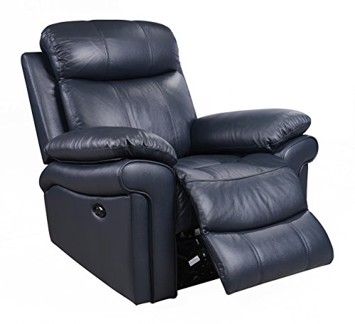 Oliver Pierce OP0039 Hudson Leather Power Recliner, Blue
