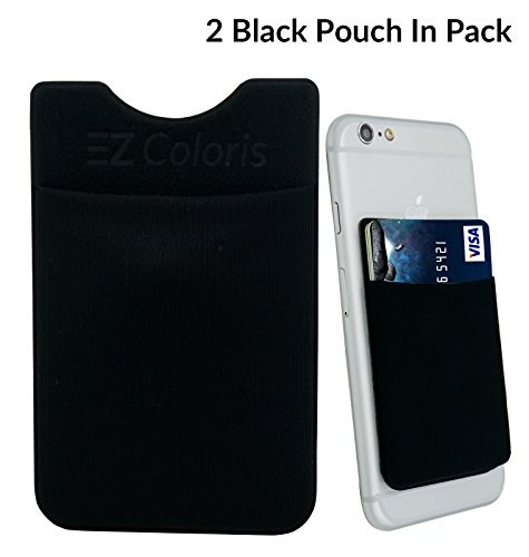 card-holder-ezcoloris-cell-phone-credit-card-holder-flexible-lycra-pouch-3m-removable-adhesive-stick