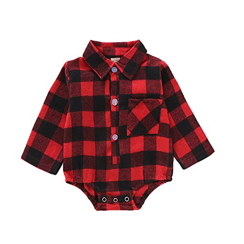 Halloween Red Deer (Newborn Baby Girl Boy Blouse Long Sleeve Red Deer Plaid Romper Bodysuit Clothes Jumpsuits for Infant and Toddler (Red, 6-12 Months (Size)