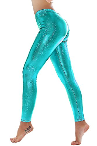 PINKPHOENIXFLY Womens Sexy Shiny Faux Leather Leggings Pants (M, PF9109 Ocean Blue) -