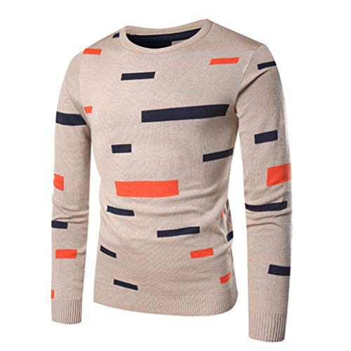 kaifongfu Sweater Tops,Men Printed Pullover Knitted Top Autumn Winter Outwear Blouse Beige (Pink Baseball Seam Bracelet)