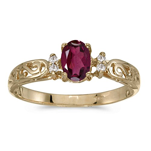 FB Jewels 14k Yellow Gold Genuine Red Birthstone Solitaire Oval Rhodolite Garnet And Diamond Filagree Wedding Engagement Statement Ring - Size 4.5 (1/2 Cttw.) ()