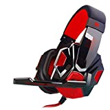 Gotd Surround Stereo LED Gaming Headset Headband Headphone Earbud with Mic, Red