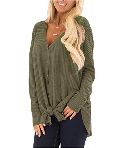 - Eanklosco Tie Knot Tops Womens Waffle Knit V Neck Blouse Button Down Long Sleeve Henley Shirt (Army Green, XXL)