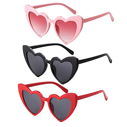 Heart Sunglasses Clout Goggle Retro Cat Eye Vintage Mod Style for Women Kurt Cobain Glasses Plastic Frame (Pink Black Red, 53) -