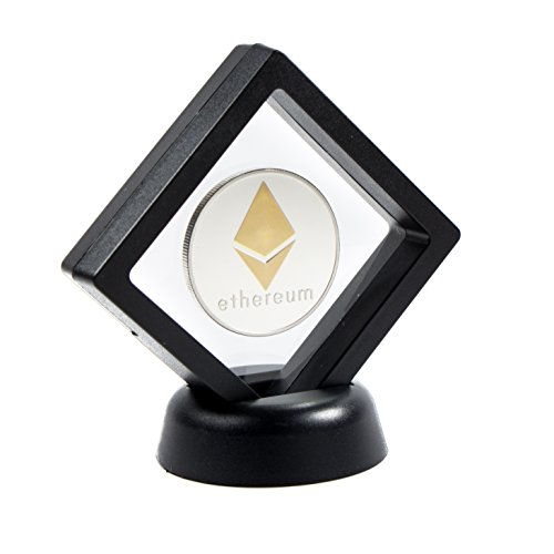Ethereum Coin Set (includes Display Case and Box) | ETH is an Ideal Physical Crypto Hobby Coins Gift | Cryptocurrency Coins are an Ideal Accessory for Office Desk (Silver Three Cent Piece Good)