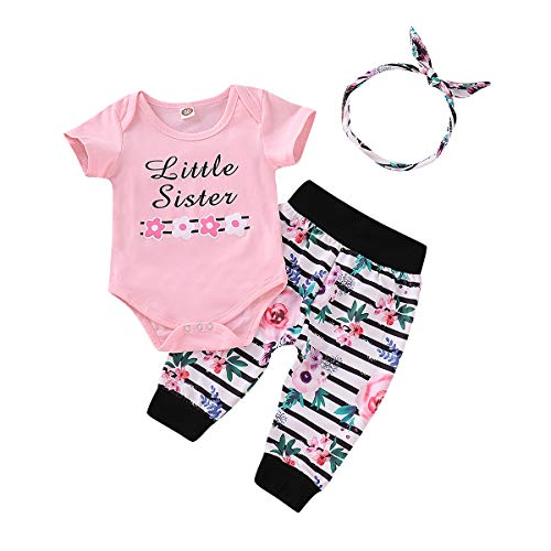 Newborn Baby Girls Clothes Ruffles Heart Print Short Sleeve Romper + Floral Pants+ Headband Summer Outfit Sets Pink B(6-12Months)