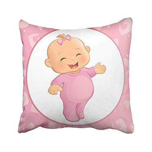 Emvency Decorative Throw Pillow Covers Cases Pink Cute Baby Girl Pink Room Blonde Cartoon Cartoon Character Cartoon Cheerful 16x16 inches Pillowcases Case Cover Cushion Two Sided