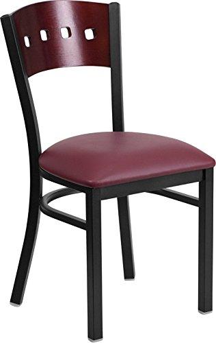 (Dyersburg Metal Chair Black 4 Square Back, Mahogany Wood, Burgundy Vinyl)