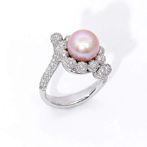 18k White Gold Pink Pearl Diamond Cluster Ring