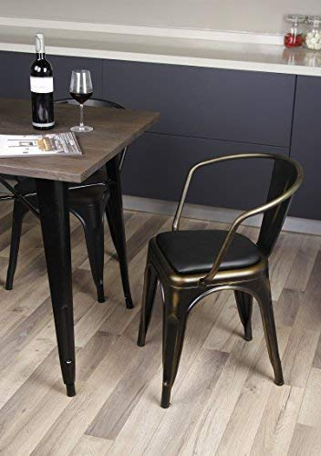GIA AY55C_PU_2 Metal Dining Chair with Leather seat, 2-Pack, Antique Vintage Bronze