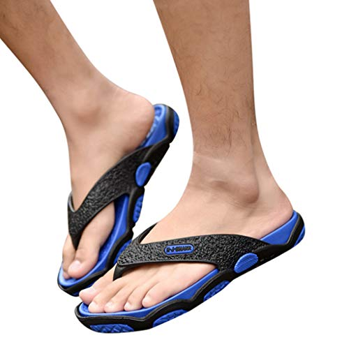 KESEELY Summer Men's Open Toe Slippers Fashion Beach Shoes Massage Bathroom Round Head Flip Flops Beach Casual Slippers Blue by KESEELY (Image #2)