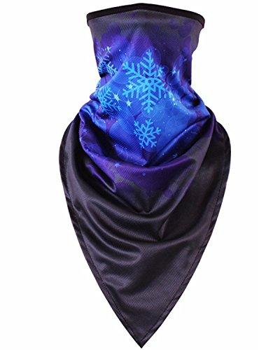 Bandana Snowflakes (Hycome 38 Colorful Patterns Outdoor Face Mask,Neck Gaiter,Fishing Face Sun Mask, Tube Mask,Bandana Mask,Balaclava Face Mask,Windproof UV Protection Hood Mask (HF-Snowflake, Regular))