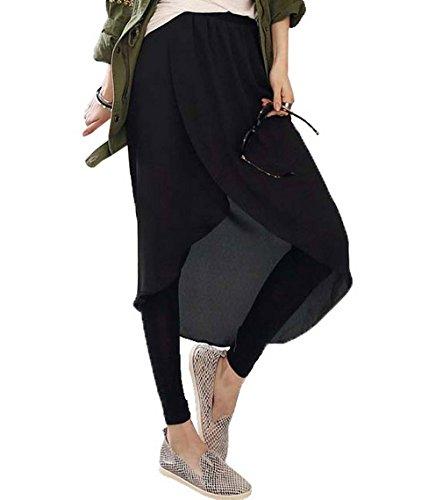 誇張神秘的な歌詞COMVIP レディース スリム シフォンスカート キュロットスカート カジュアル レギンス 切り替え 柔らかい タイツ ファッション