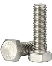 1/4-20 Hex Head Cap Screw Bolts, External Hex Drive, Stainless Steel 18-8 (304), Full Thread, 50 PCS