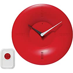 Infinity Instruments 10-inch Modern Wall/ TableTop Clock with Remote Control Chime, Red
