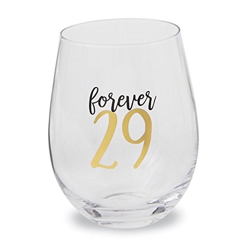 Mud Pie Gifts 29 Forever Stemless Wine Glass