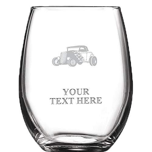 Hot Rod Car Personalized Wine Glass - 9 oz Custom Soiree Stemless Car Racing Wine Glass Gift