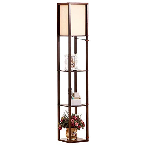Brightech Maxwell - LED Shelf Floor Lamp - Modern Standing Light for Living Rooms & Bedrooms - Asian Wooden Frame with Open Box Display Shelves - Havana ()