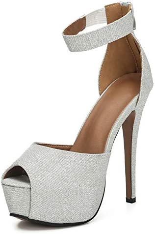 MAIERNISI JESSI Womens Sandals Platform Peep Toe Ankle Strap Stiletto High Heel Dress Zip