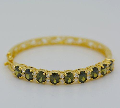 Bracelet Cuff Bangle Cubic Zirconia 22k 24k Yellow Gold Plated Women AAA Syn Peridot Jewelry