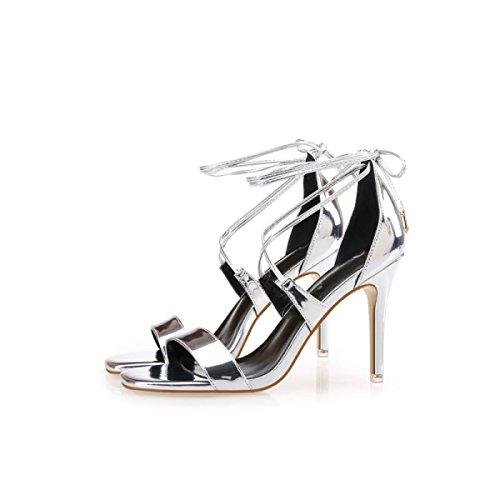 GRRONG Sandalias De Mujer Zapatos De Tacón Alto Cabeza Cuadrada Palabra Con Sandalias Ahuecan Silver
