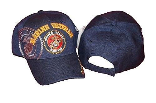 Blue USMC Marine Marines Veteran Shadow Emblem Seal Embroidered Hat Ball (Usmc Seal)