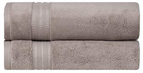 (DIVINE Luxury Zero Twist -100%Naturally Feather Soft ZERO TWIST RingSpun Cotton Yarn,Extra Large,Elegantly Plush,Ultra Absorbent,Extra Durable,Hotel/Spa Quality,650 GSM,2 Pc Bath Towel Set- Dark Brown)