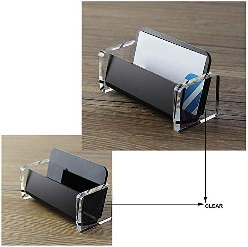 BMYUK crylic Desktop Business Card Holder Display for Desk Elegant Business Card Stand for Office Black
