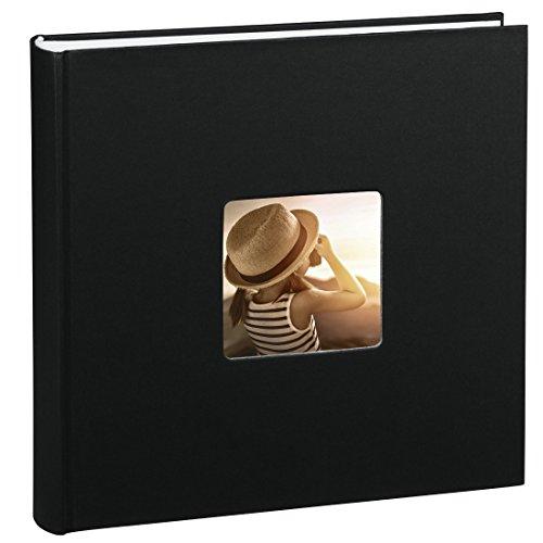 Hama Jumbo Fotoalbum Fine Art (30 x 30 cm, 100 Seiten, 50 Blatt, mit Ausschnitt für Bildeinschub) schwarz
