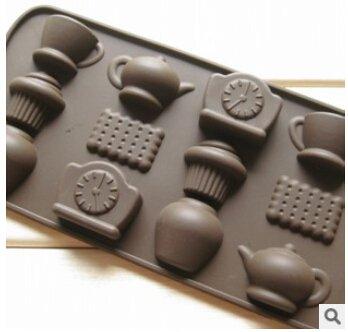 Wocuz Chocolate Candy Molds Fondant Making Pan Supplies Food-grade Silicone Mold (Teapot)