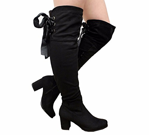 Black Up Size Heel STYLES High Over Knee Boots Suede Thigh Tie 3 Womens Shoes Fringe 8 Tassel SAUTE Ladies Block Lace 1T6qR