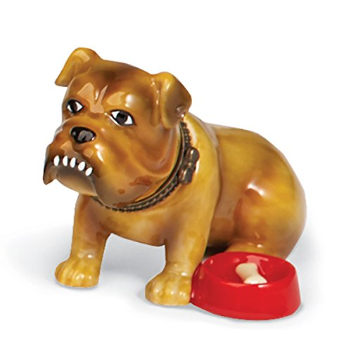 Bulldog Trinket Box - Small Porcelain Hinged Treasure Box