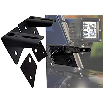 GS Power's A-Pillar Windshield Hinge Mount Brackets (2 pc) for Mounting Auxiliary Off-Road LED, HID, or Halogen Fog and Work Lights. Compatible with 2007-2020 Jeep Wrangler JK: Automotive