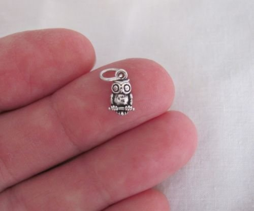 Small Sterling Silver Owl miniature charm.Jewelry Making Supply Charm, Bracelets and More by Wholesale Charms