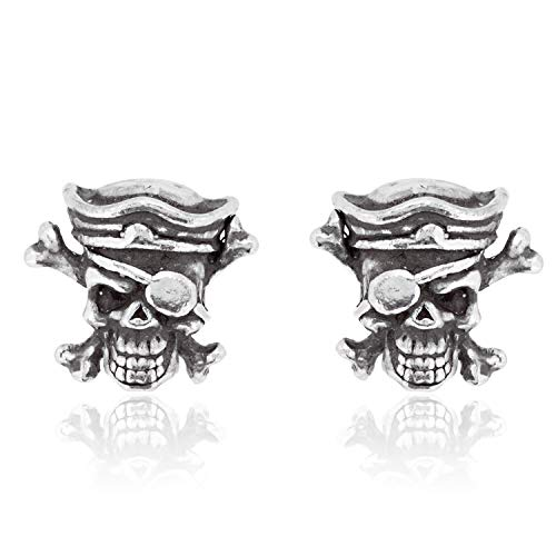 Pirate Earrings For Men (Namaste Jewelers Pirate Skull and Crossbones Earring Studs Pewter)