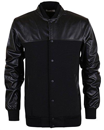 ililily Color Blocked Neoprene & Faux Leather Varsity Blouson Bomber Jacket (jackets-252-2-L)