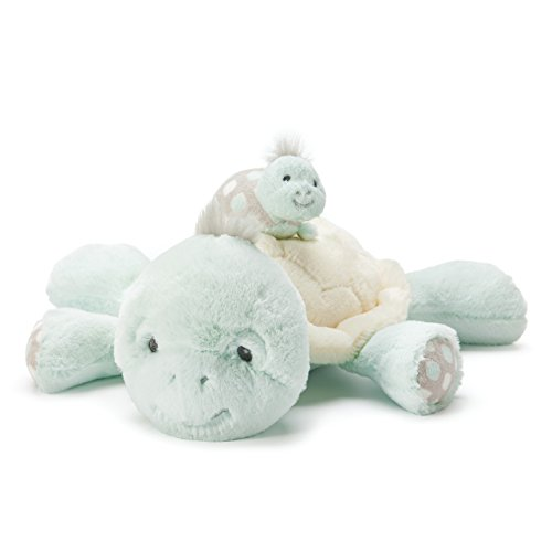 Nat and Jules Mommy And Baby Taddles Turtles Spotted Blue Musical Children's Toy Set of 2
