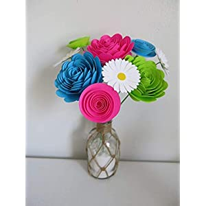 Bright Paper Flower Bouquet, Modern Roses and Daisies, Fuchsia Pink, Aqua Blue and Green Neon Colors 1.5 to 3 Inch Blooms, 9 Stemmed Floral Decor 2