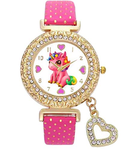 Lucky Unicorn Stones Gold-Tone Analog Quartz Wrist Heart Charm Watch for Girls (Charm Pink) ()
