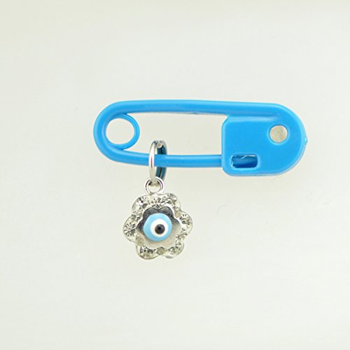 Evil Eye, 14Kt White Gold & Cubic Zirconia Evil Eye Charm With Plastic Safety Pin To Hook 14kt Gold Baby Boy Charm