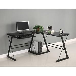 walker edison soreno 3 corner desk black with black glass kitchen dining