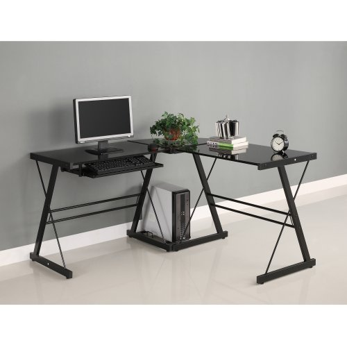 Walker Edison Soreno 3-Piece Corner Desk, Black with Black Glass (L Computer Shaped Desk)