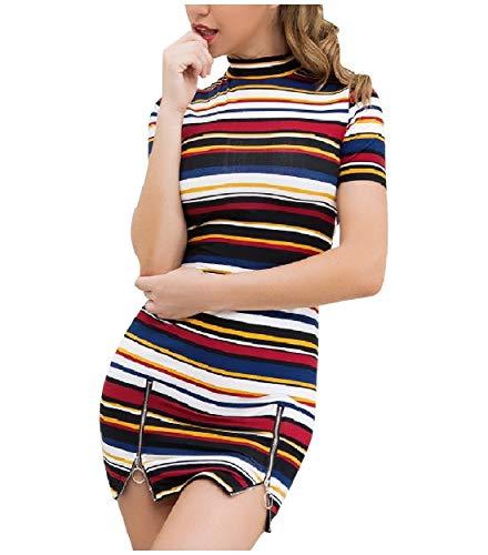 Mini Howme Women Dresses Back Split Short Neck Cotton Autumn Mock Sexy Multi qzwqBxaA