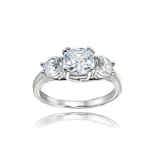 Sterling Silver Cubic Zirconia Cushion Cut Three-Stone Royal Engagement Wedding Ring, Size 7 by Hoops & Loops