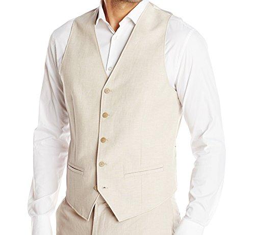Cubavera Men's Easy Care Linen Blend Vest, Khaki, Small